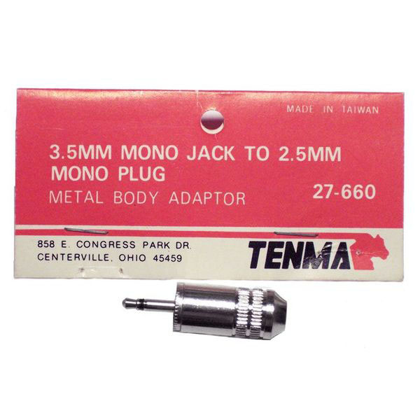 3.5mm Mono Jack To 2.5mm Mono Plug - Click Image to Close