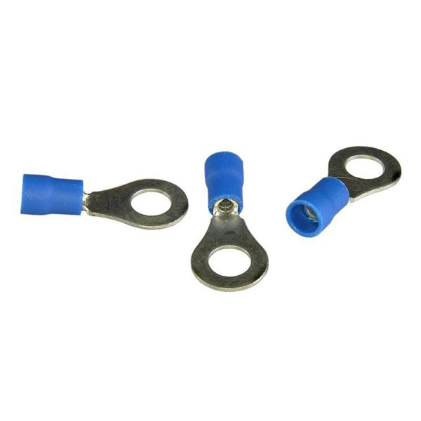 "16-14 AWG Blue 1/4"" Stud---Ring Terminal Pkg/8 - Click Image to Close"