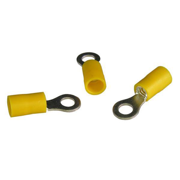 12-10 AWG Yellow 8-10 Stud Ring Terminal Pkg/7 - Click Image to Close