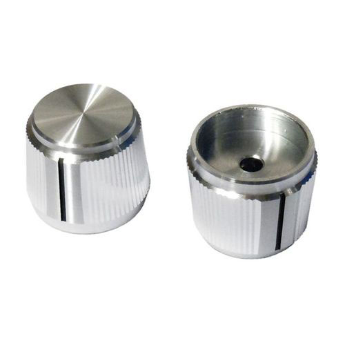 "Silver Knurled Knob with Taper and Indicator 1/8"" Shaft"