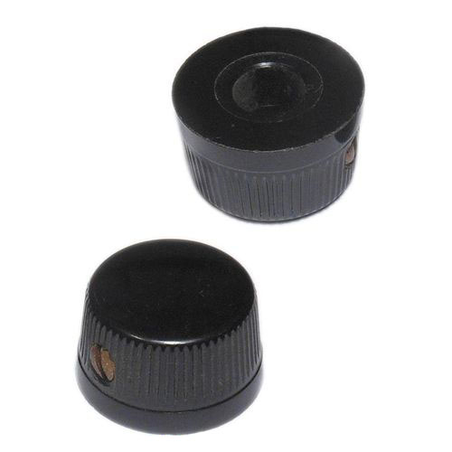 "Low-Profile Black Plastic Knurled Knob-Fits 1/4"" Shafts"
