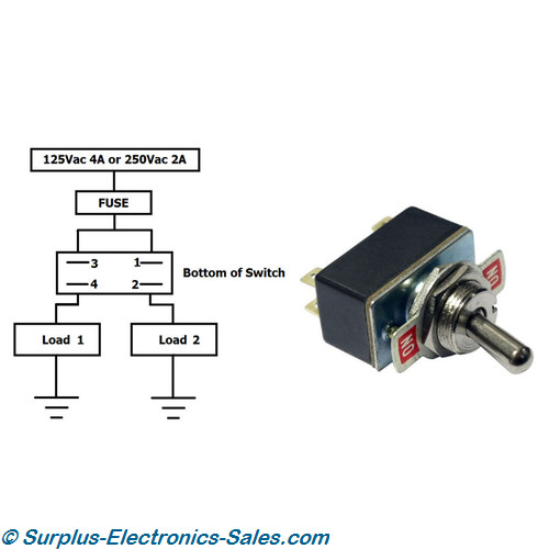 ON/ON Change-Over Toggle Switch 4 Amp 125VAC